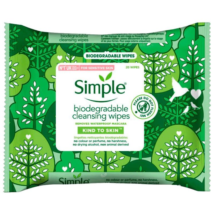Simple biodegradable cleansing wipes