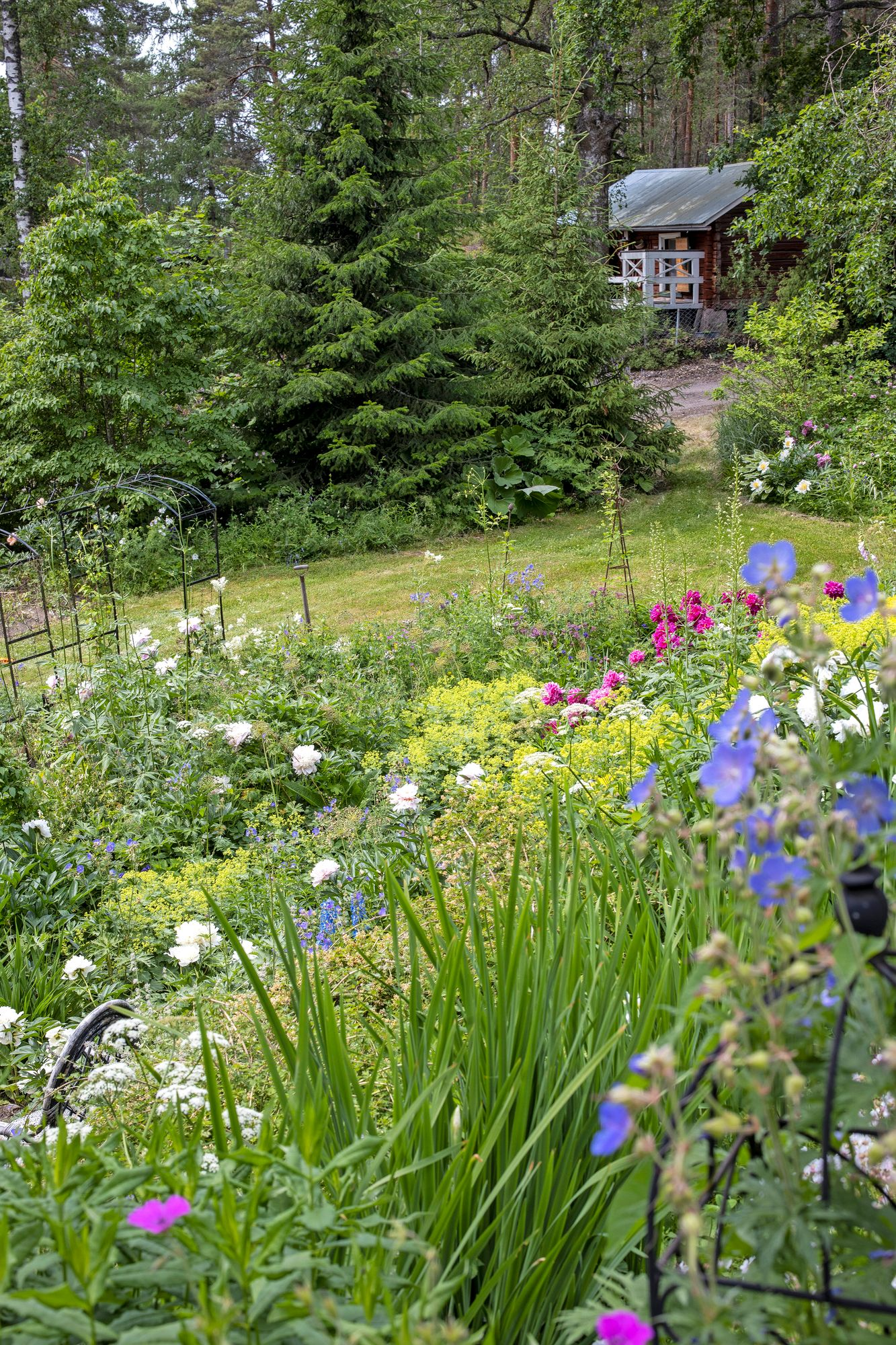 Full-bodied Chinese peonies and irises that bloom profusely throughout the summer are the basic plants of the cottage garden style.