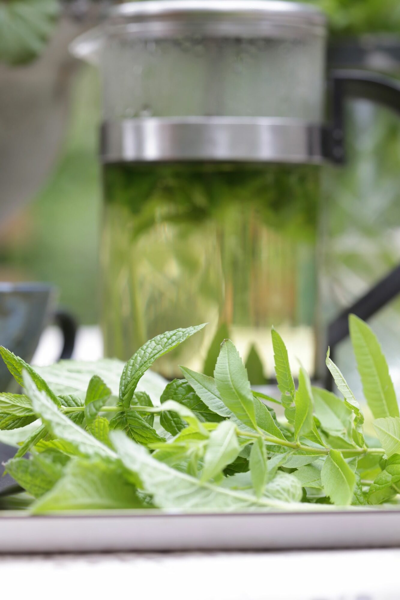 Assemble a tea blend of your favorite herbs.  Pour the almost boiling water into the teapot over the fresh herbs.  Simmer for a moment.